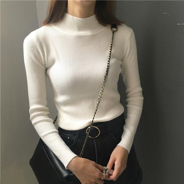 45678(韓国ファッション)大人可愛い♪ハーフハイネックストライプ 長袖セーター タートルネックトップ
