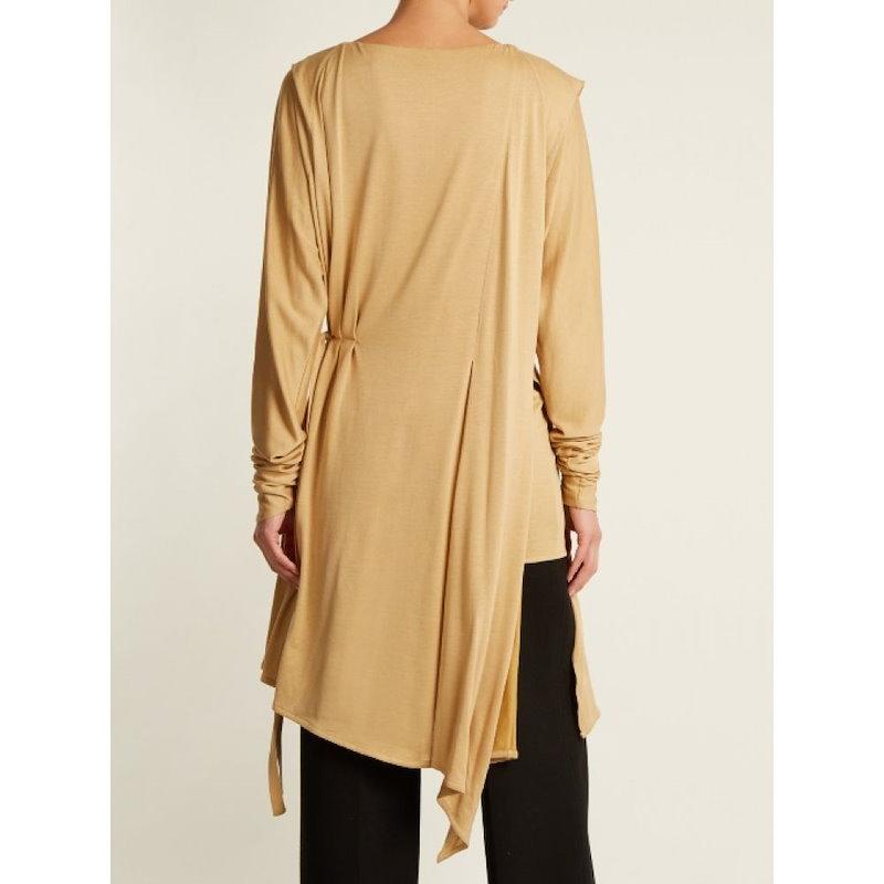 ルメール レディース トップス【Layered long-sleeved pleated jersey top】Biscuit-beige