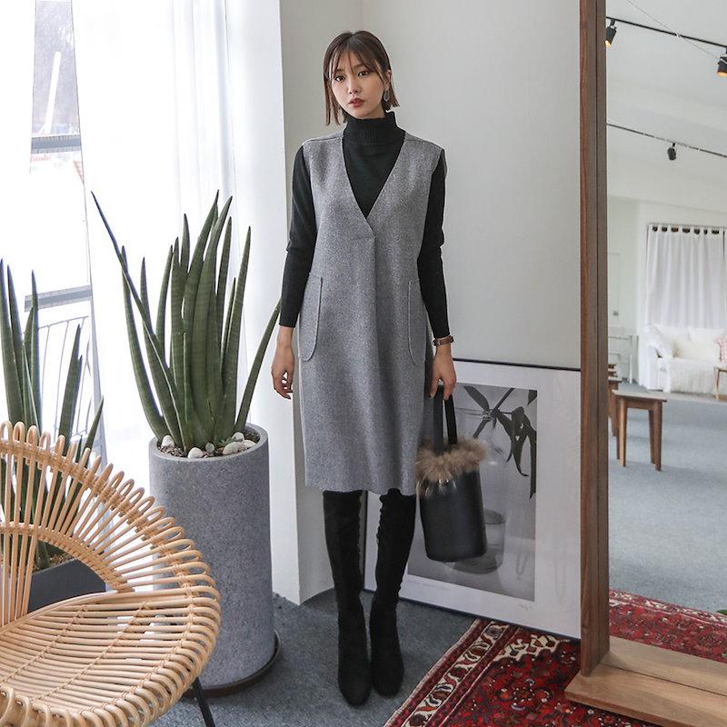 ♥送料 0円★PPGIRL_B356 Inner half turtle neck knit top / basic item / simple / long sleeve knit top