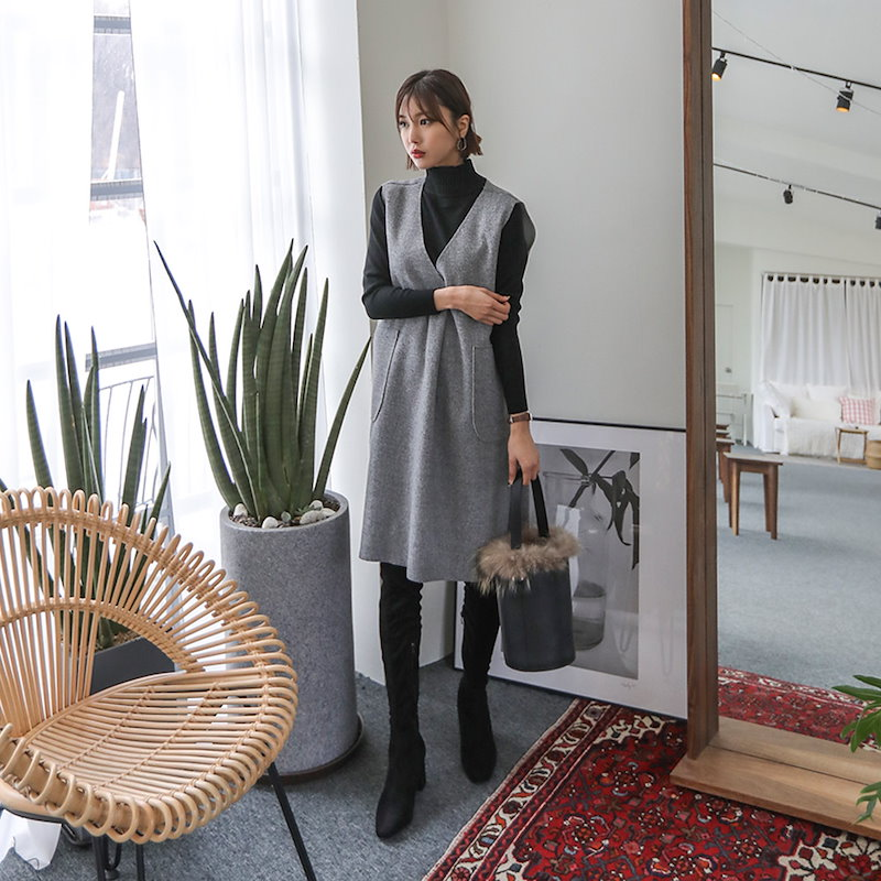 ♥送料 0円★PPGIRL_B356 Inner half turtle neck knit top / basic item / simple / long sleeve knit top