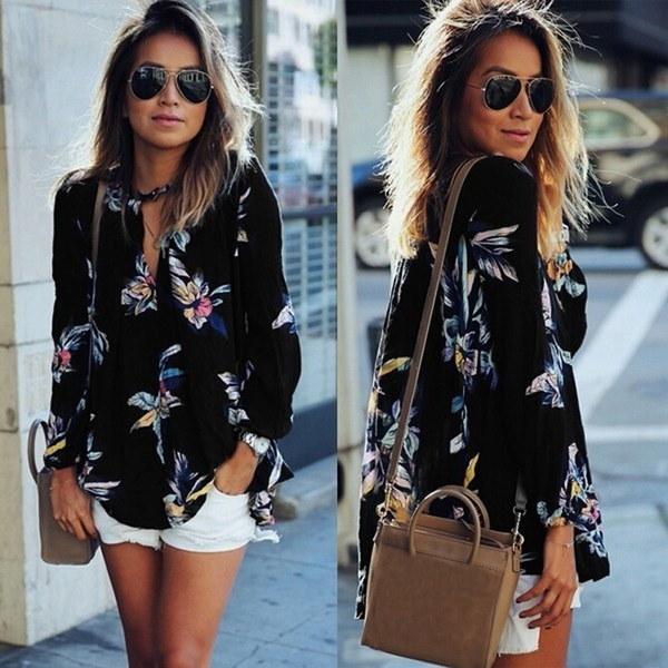 ファッション女性の花の印刷中空Vネックロングスリーブシフォンシャツカジュアルな日焼け止めブラウストップ