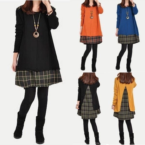 Donna Women Plaid Grid Long Sleeve Blouse Top Loose Pocket Sweater Tunic Dresses Vestiti