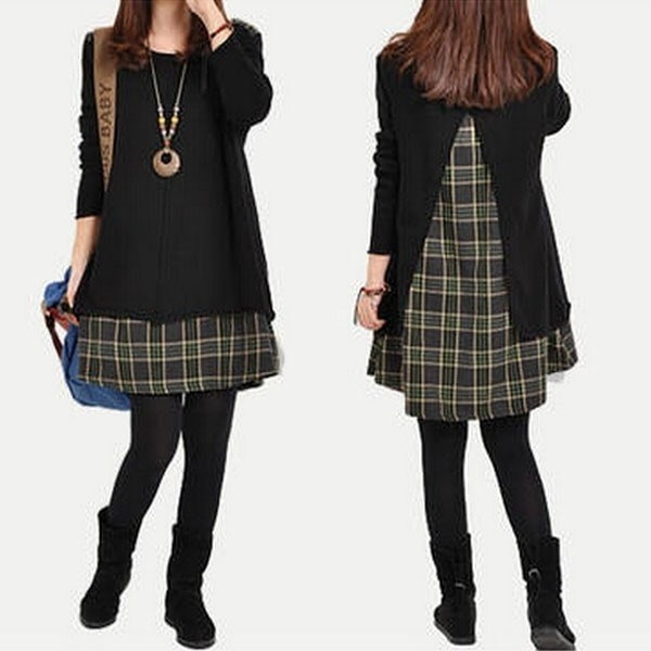 Donna Women Plaid Grid Long Sleeve Blouse Top Loose Pocket Sweater Tunic Dresses Vestiti