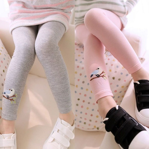Child Baby Kids Girls Cotton Cute Birds Stretchy Pattern Pants Leggings Trousers