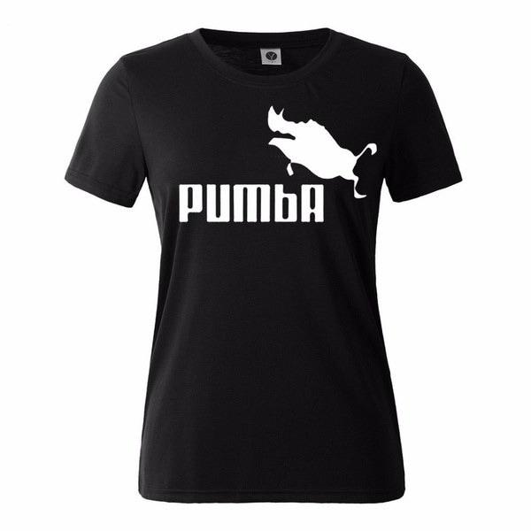 純粋なコットンの女性夏の半袖PUMBAプリントカジュアルなラウンドネックのTシャツ