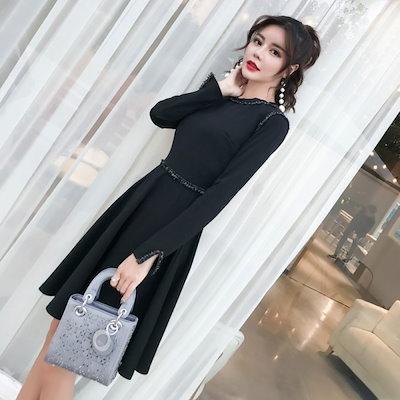 シンプル 長袖 フレア ワンピース ドレス ショート丈 フリンジ ハイウエスト Aライン 上品 かわいい お呼ばれ フォーマル F0101