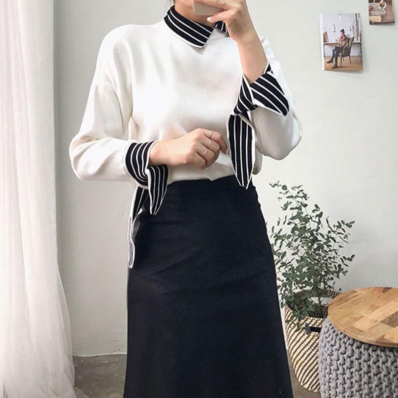 ・ストライプカラリボンニット★韓国ファッション★小売リボンニット★カラニット