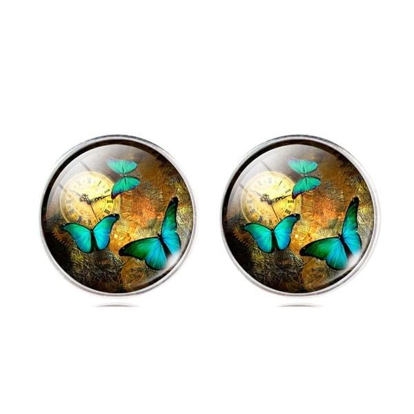ガラスのカボションネックレス&イヤリング&バングルセット(完全に4個)蝶の芸術の絵のペンダントチャイ