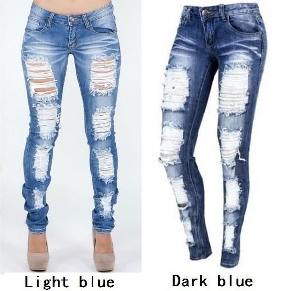 S-XXL Plus Size Women s Fashion Skinny Jeans Fashion Ripped Baggar Pants Boyfriend Demin Biker Jeans