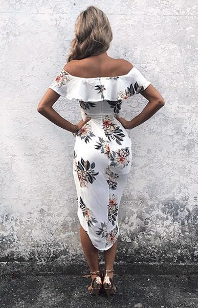 ホットファッション女性カクテルパーティーセクシーなショルダーフラワープリントドレスオフ