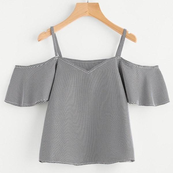 ファッションポイント女性の夏のピンストライプブラウスコールドショルダートップアイテムの詳細
