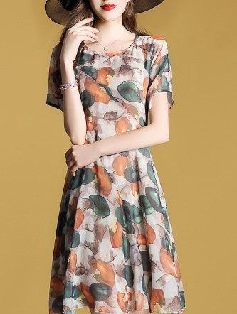 韓国 秋新作 ドレス ワンピース 秋色 鮮やか 紅葉色 半袖 シフォンドレス バックジッパー  膝丈ワンピース お呼ばれ パーティー韓国 オルチャン