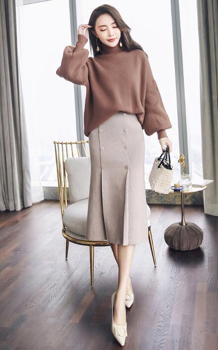 [55555SHOP]レデイースファッション 女性大人気 幅広くしっかり体型カバー 着痩せ セーターニット秋冬新作長袖大人 ふんわりハイネック ニット ニットワンピ