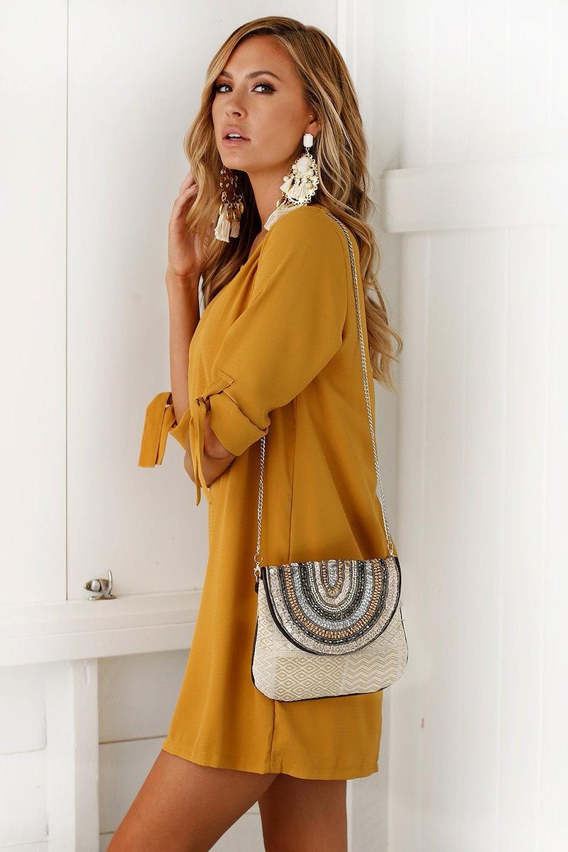 ラウンドネック秋の女性ソリッドカラードレスファッションレースアップシフォンボトムドレスドレス