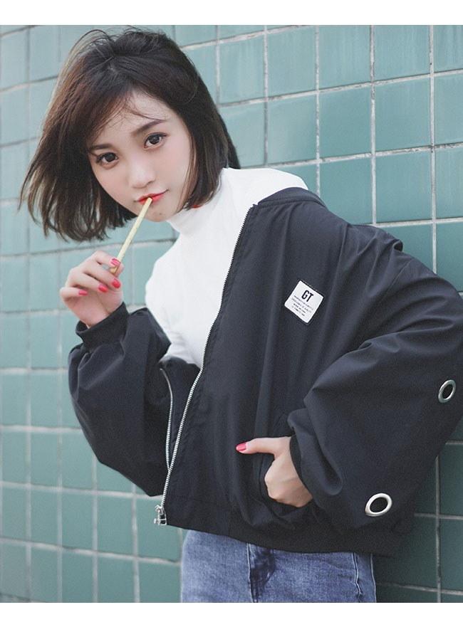 レディースファッション 女性 コート スタジアムジャンパー ジャケット コート アウター ブラック グリーン オレンジ フリル フェミニン 女っぽさと格好良さ両立 ノーカラー 原宿風