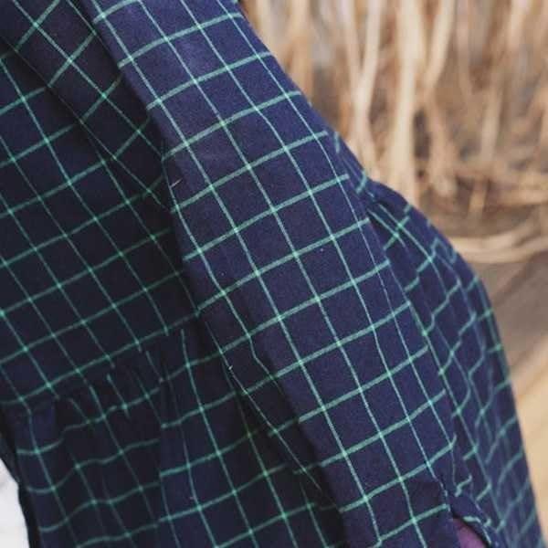 シャツワンピ チェック柄 長袖 折襟 ゆったり チュール レディース 膝丈 ミモレ丈 チェックワンピース 海軍風 学院風 シンプル