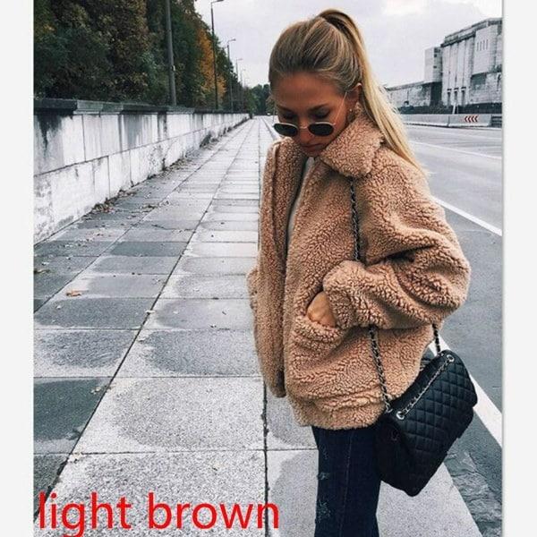 セクシーな女性ファッションルーズカジュアルラペル襟ジャケット女性冬暖かいフリースジャケット