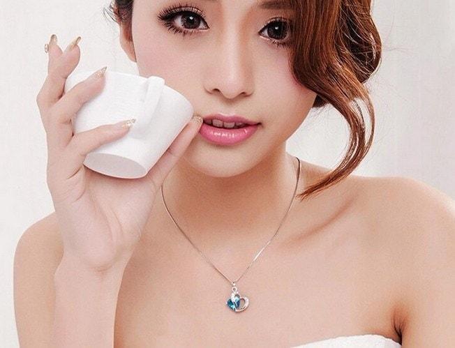 女性のためのハートネックレス女性925スターリングシルバーファッションネックレスクリスタルペンダントパープルピンクブルー