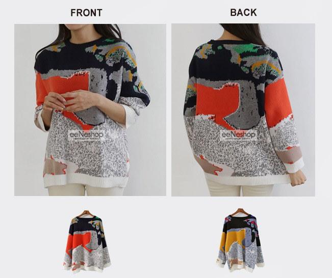 ★送料無料★配色 パターン編み ニット レディース 韓国ファッション ワンピース Tシャツ ブラウス カーディガン ルームウェア セットアップ トレーナー バッグ リュック パーカー