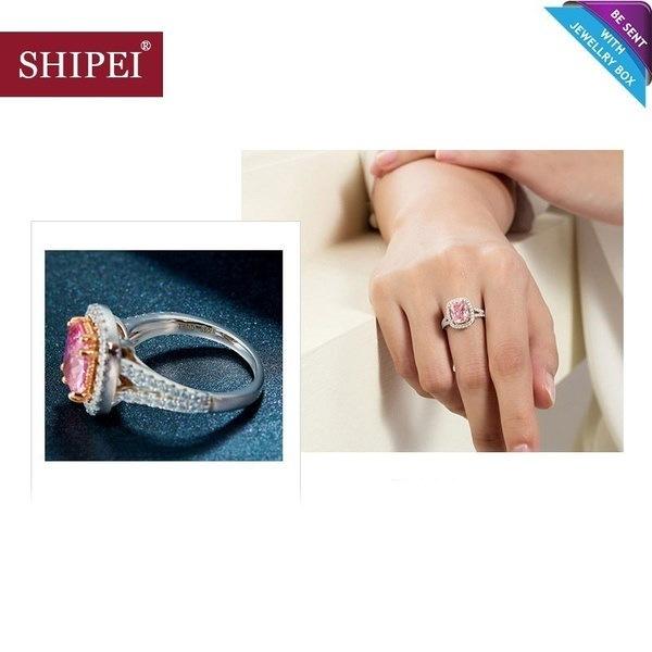 ファインジュエリー、2017 Shipei女性ファッションピンクビッグCZダイヤモンドリング、最高品質925スターリングシルバー