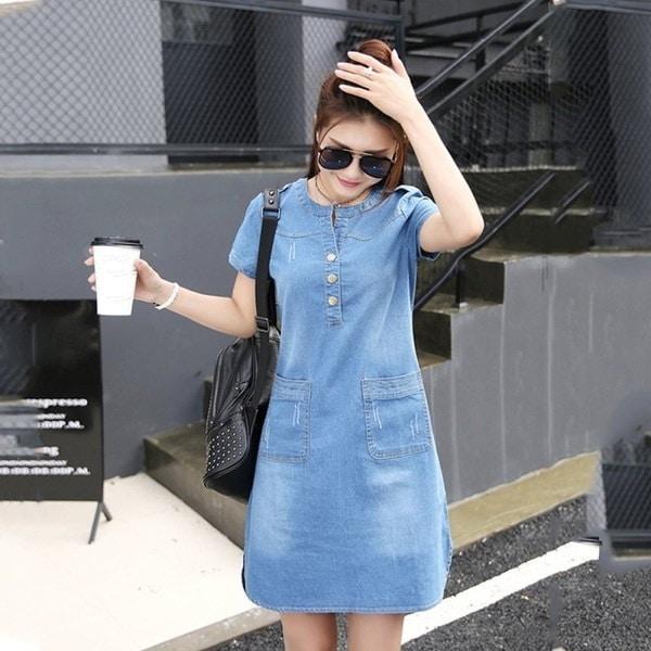 Women O-Neck Short Sleeve Plus Size Denim Slim Casual Office Jeans Dress