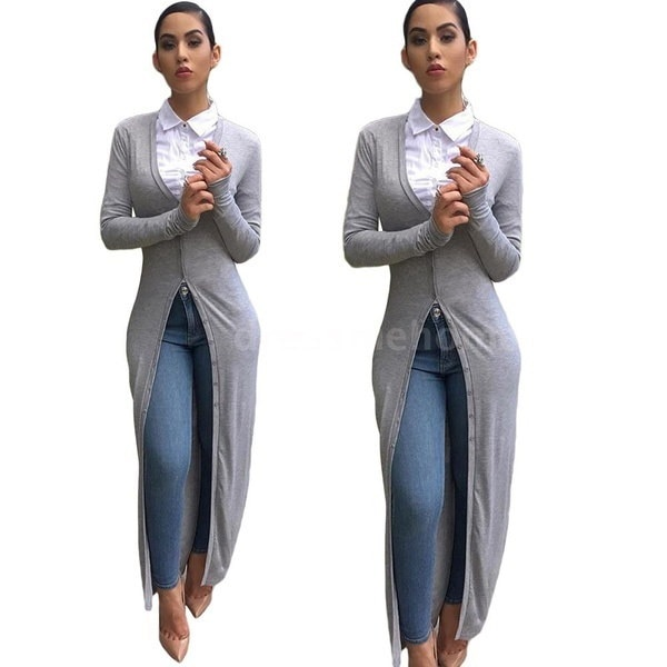 Long Blouse Autumn Winter Women Long Trench Coat Long Sleeves Solid Cardigan Slim Warm Overcoat Grey