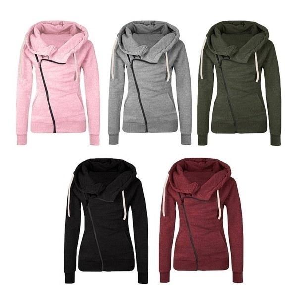 Women Hoodies Sweatshirts Solid Color Hooded Jacket Long Sleeve Femme Hoodie Zipper Fall Winter Fema