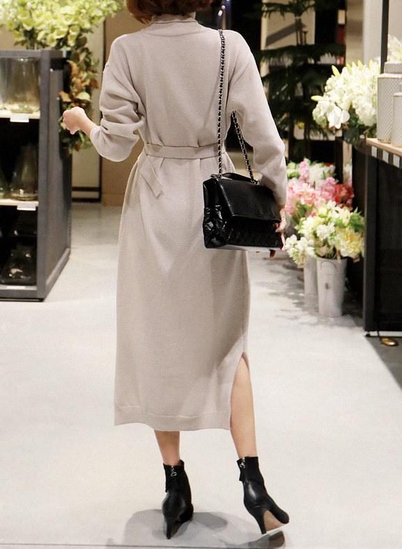 ロングタートルネックニットワンピースストラップSET-This is knit one-piece having long length roomy fit and pretty waist