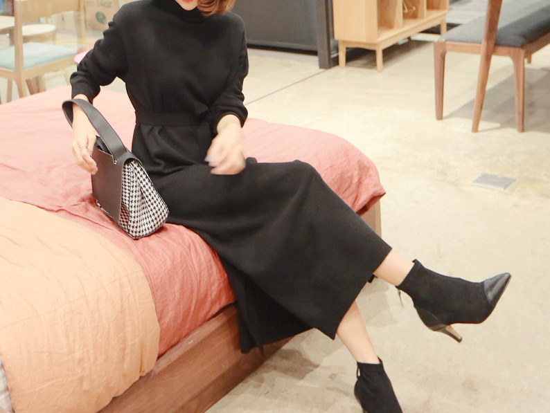 ロングタートルネックニットワンピースストラップSET-This is knit one-piece having long length roomy fit and pretty waist