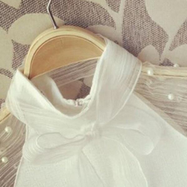 春のエレガントなオーガンザ真珠の弓白いブラウスカジュアルなファッションシャツシフォンシャツ女性のブラウス