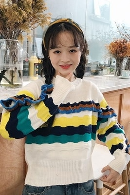 冬服/女性服/カレッジ風/何でも似合う/韓国風/ルース/着やせ/レインボー/波/紋/ヒットカラー/キクラゲなようなエッジ/ヘッジ/セーター