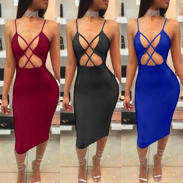 Fashion Backless Package Hip Long Dress Sexy Hollow Pencil Dress Women Nightclub Sling Dress