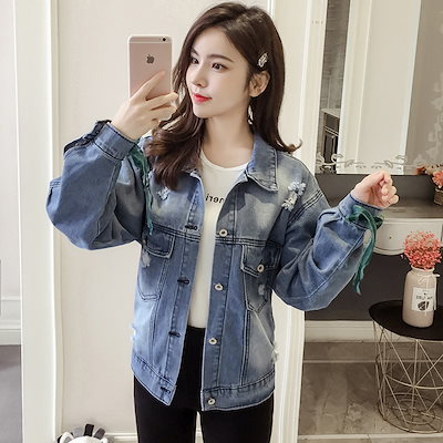 レディース ジャケット デニム   長袖  トップス アウター  2019新品  韓国 ダメージ  刺繍  着瘦  可愛い上質   LT19041632
