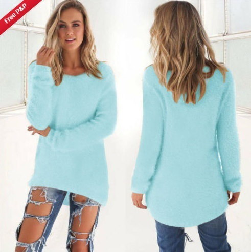 Womens Long Sleeve Casual Sweater Jumper Pullover Oversized Tops Blouse