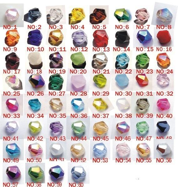 ビーコンビーズ4ミリメートルファセットビーコンクリスタルガラスビーズ(63色入荷)