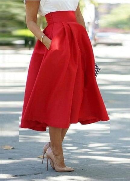 2015年女性のファッション長いラインプリーツミディスカートボールパーティードレス