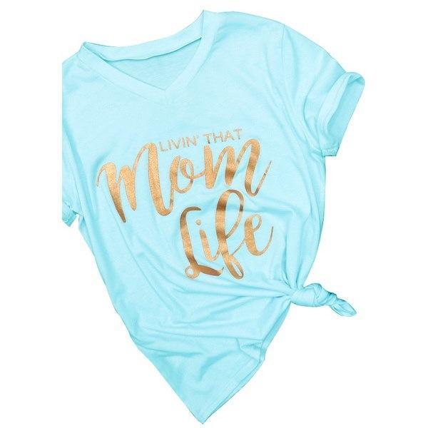 新しい夏のファッション女性カジュアルママライフプリントレタープリント半袖VネックトップTシャツプラスサイズ