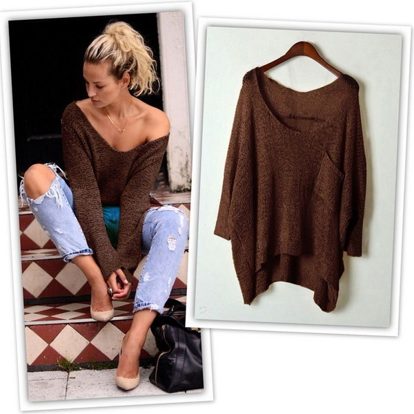 New Women Off the Shoulder Chunky Knit Jumper Ladies Oversized Baggy Sweater Top