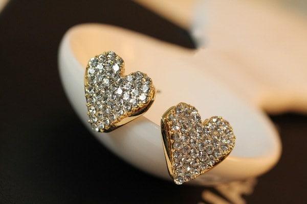 18Kゴールドメッキフルクリスタルダイヤモンドラインストーンハートイヤリングハートイヤスタッド(カラー:ゴールド)