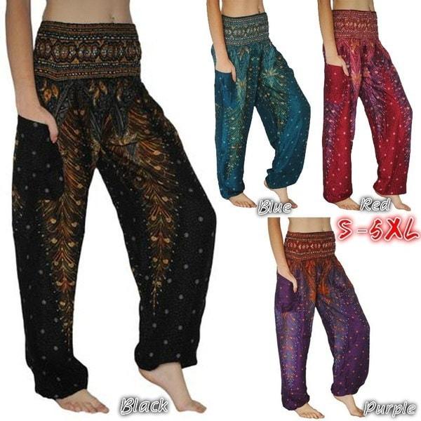 セクシー13色女性Boho PeacockプリントパンツAladdin Harem Hippie Pants Fashion