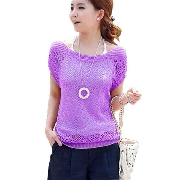 女性のルーズTシャツ中空ショートバットウィングスリーブニットトップスシャツセーター