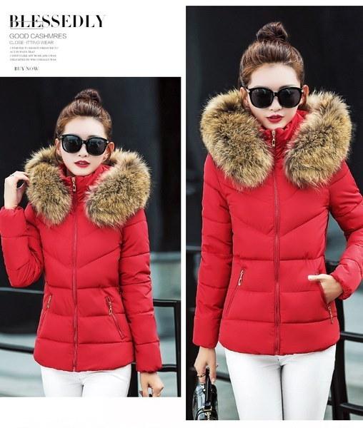 冬の女性のジャケット女性の大きな毛皮の襟のフード付きのコート厚い暖かい綿のパーカースリムショートコート女性