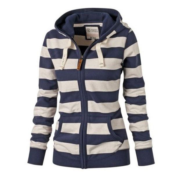 新しいファッション女性プラスサイズストライプジッパーカジュアルパーカーコート冬のスウェットアウトレット