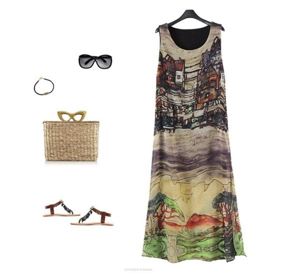 S-5XL女性ファッションプラスサイズ夏プリントシフォンロングドレス女性カジュアルビーチマキシドレスルーズS