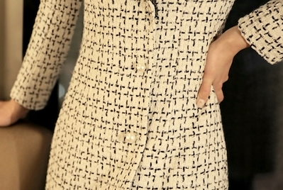 クラシカル パールボタン モノトーンツイードコート チェック ミディアム チェスター エレガント 結婚式 パーティ お呼ばれ フォーマル 20代 30代 40代 秋冬新作 演奏会 韓国 オルチャン