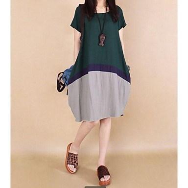 女子ラウンドパッチワークコントラスト色ルーズプラスサイズドレス