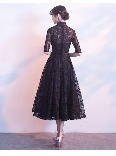 20代 結婚式のお呼ばれにもおすすめアジアンテイスト風総レースひざ丈ドレス