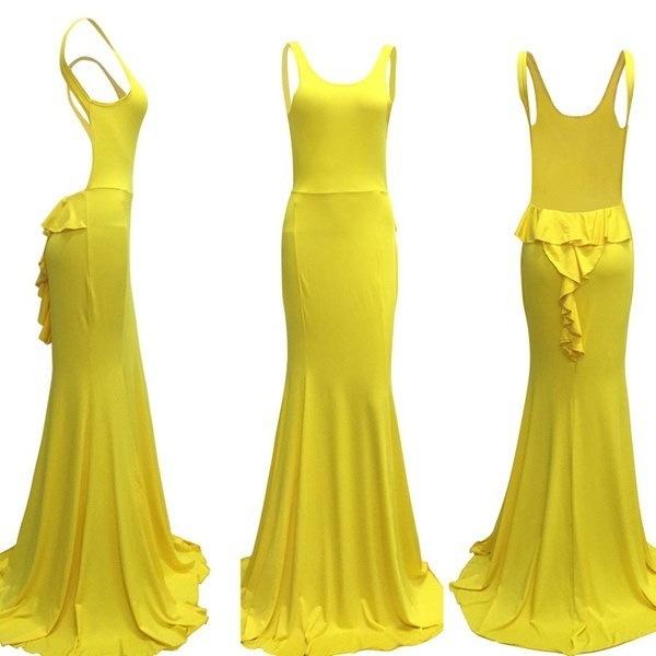 女性黄色長いフリルストラップレスノースリーブカクテルドレス花嫁介添人の夕方