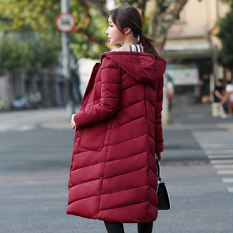 Women Single Breasted Long Hooded Down Jacket Warm Thick Slim Fit Winter Coat Parka Outerwear M-3XL