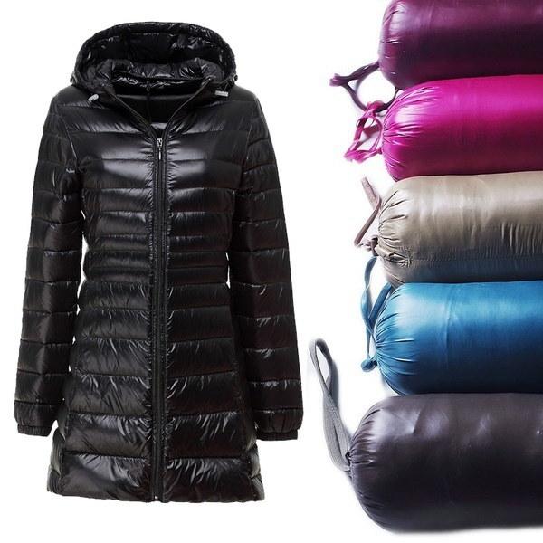 女性ファッションウルトラライトダウンジャケットフード付き冬ダックダウンジャケットスリムロングスリーブパーカーオーバーコート